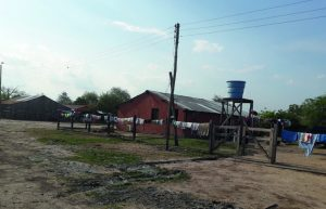 Los pobladores recolectan el agua en tambores sobre sus casas.